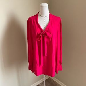 Kate Spade Pussy Bow Pink Long Sleeve Top Blouse